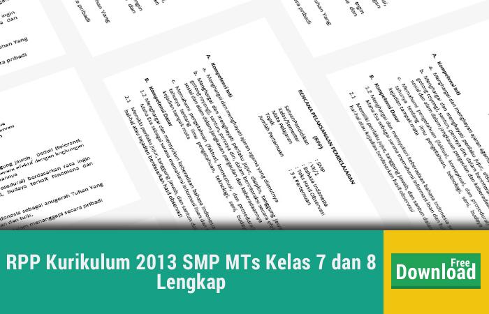 RPP Kurikulum 2013 SMP MTs Kelas 7 dan 8