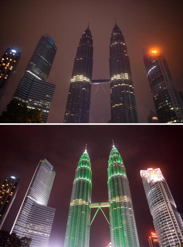 Tòa Tháp đôi Petronas ở Kuala Lumpur, Malaysia tắt đèn vào Giờ Trái Đất (trên) và ánh đèn ngày thường chiếu sáng nó (dưới). Hình ảnh: Ed Jones/AFP/Getty Images.