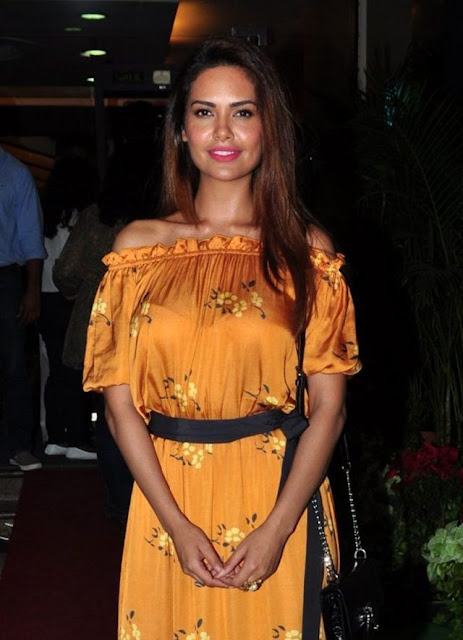 Esha Gupta in Off Shoulder Golden Yellow Dress