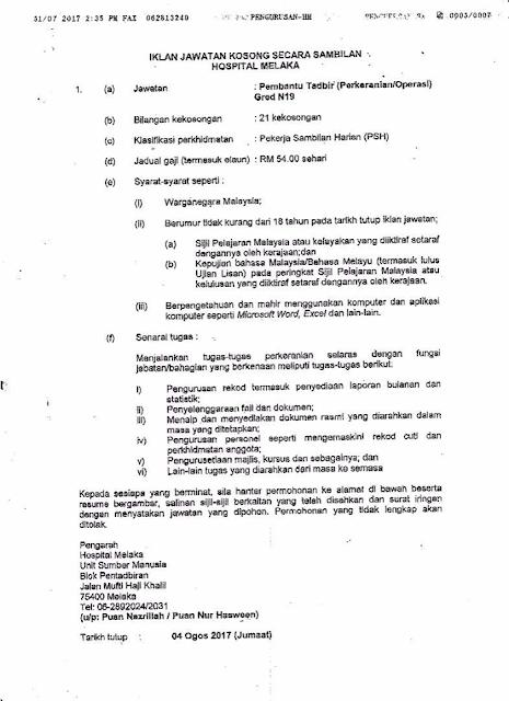 Jawatan Kosong Terkini di Hospital Melaka Ogos 2017