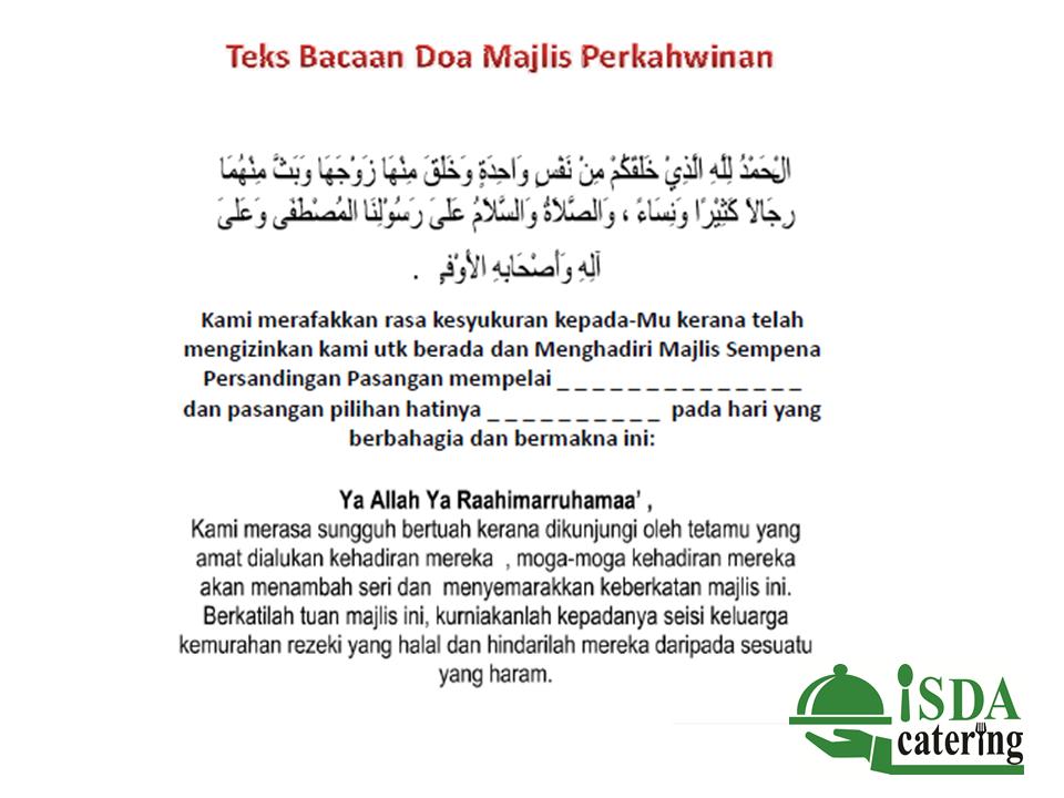 Skrip Doa Untuk Pengantin Di Majlis Perkahwinan Isda