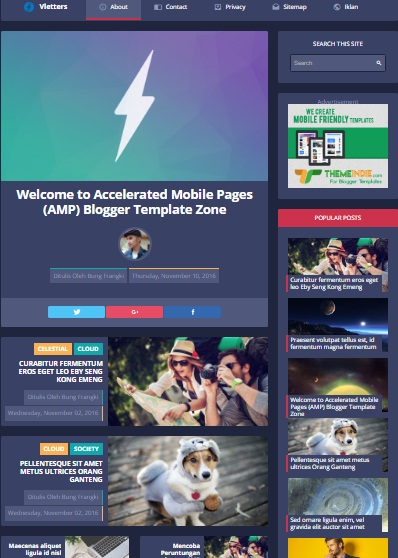 AMP Blogger template free responsive