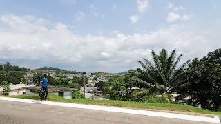 There is a view over Libreville on the road to the airport