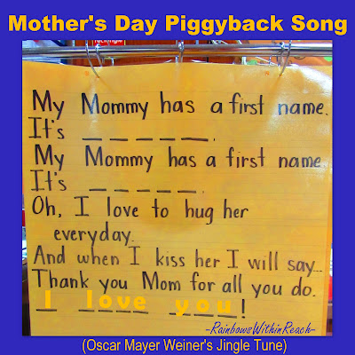 photo of: Anchor Chart for Mother's Day, Mother's Day poem, kindergarten