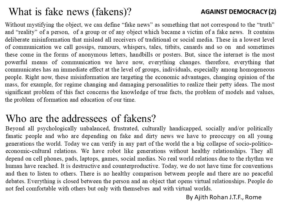 Avente Logos : FAKE NEWS - AGAINST DEMOCRACY - BY Ajith ...  Avente Logos : ...