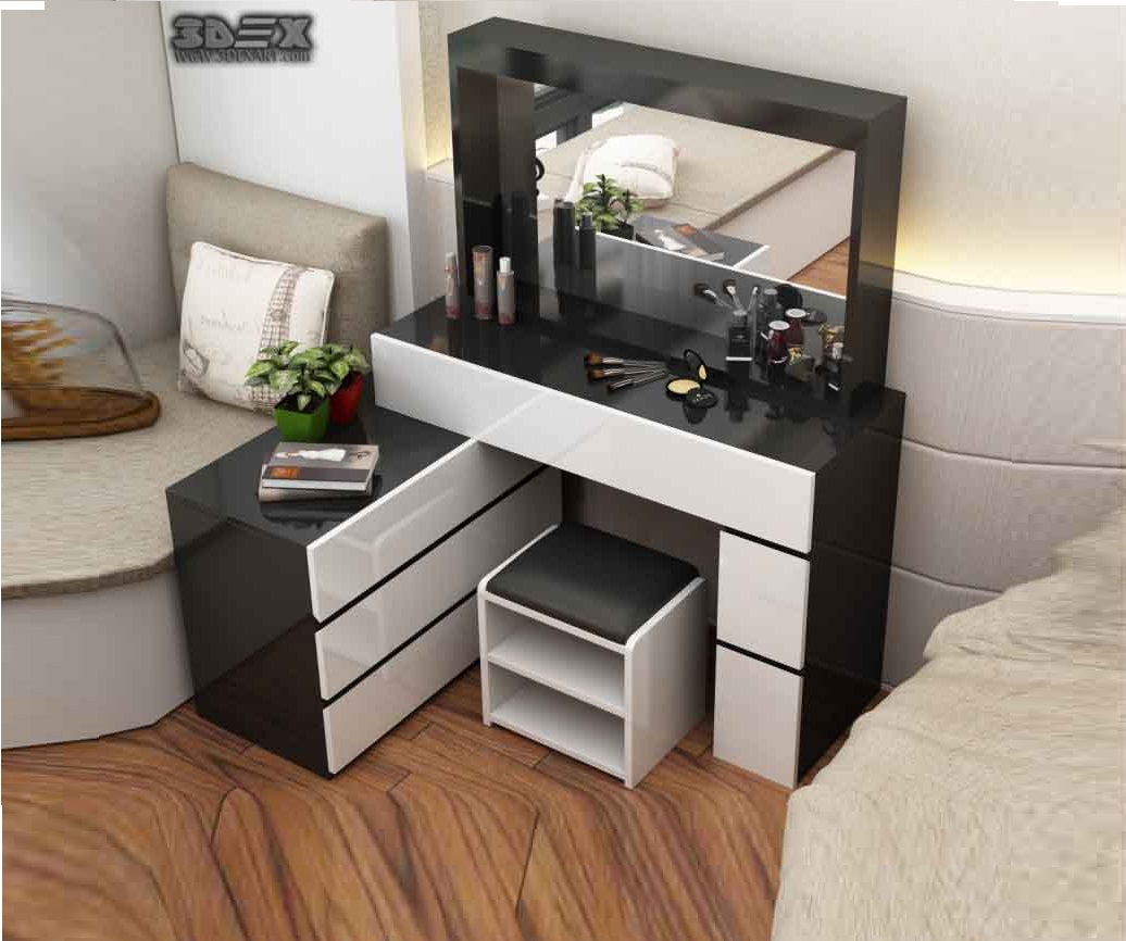 Latest corner dressing table designs for small bedroom for Interior design table