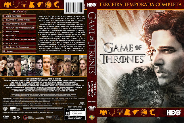 Capa DVD Game Of Thrones Terceira Temporada Completa