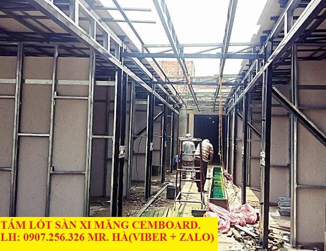 Vách ngăn chịu nước bằng tấm xi măng cemboard Thái Lan làm vách ngăn ngoài trời