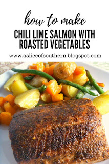 Chili Lime Salmon with Roasted Vegetables: Crispy fish on the outside and juicy and succulent on the inside, served along the BEST combination of roasted veggies!  Slice of Southern