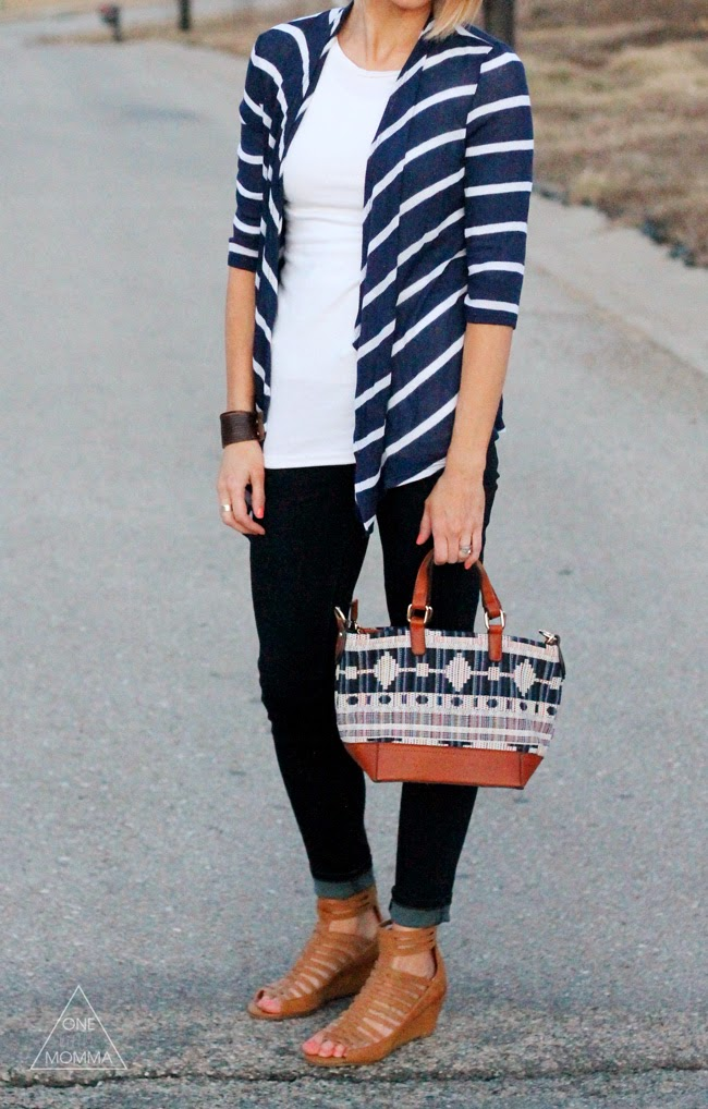 Striped cardigan, dark denim, strappy sandals