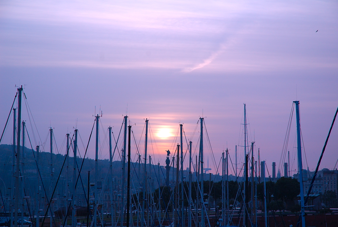 Sunset over Port Vell, Barcelona