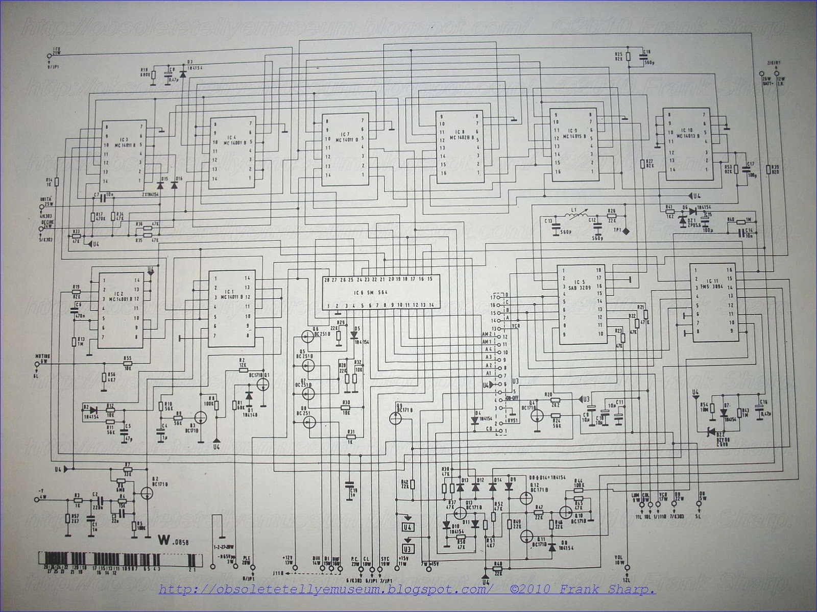 Obsolete Technology Tellye Autovox Tvc2609 Spazio 99tc Chassis Hartley Oscillator Basic Schematic Circuit Diagram Pulse 14 Is Used Initially To Reset The Divider 4b Of Reference Frequency Source 4 Which Does Not Generate Signal Pulses As Long
