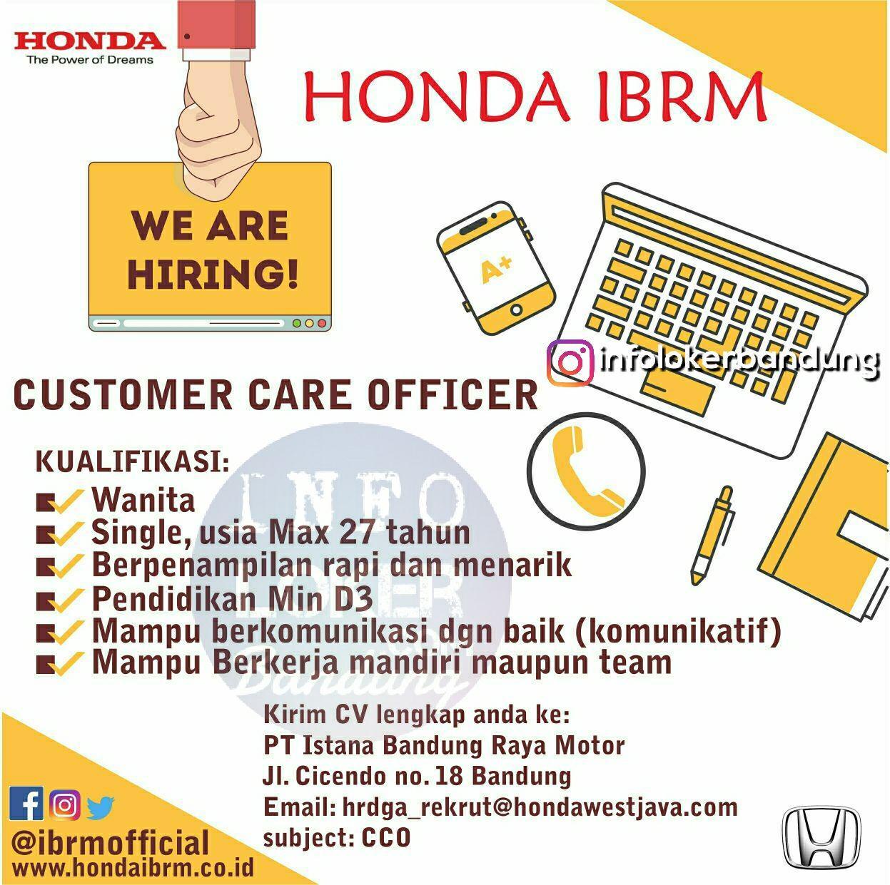 Lowongan Kerja Customer Care Officer Honda IBRM Bandung Februari 2018