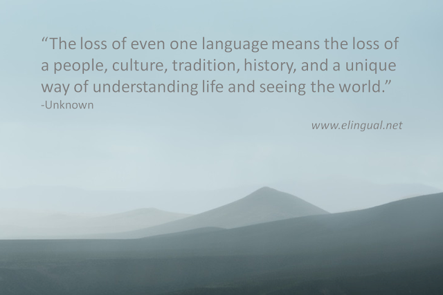"The loss of even one language means the loss of a people, culture, tradition, history, and a unique way of understanding life and seeing the world."" -Unknown 