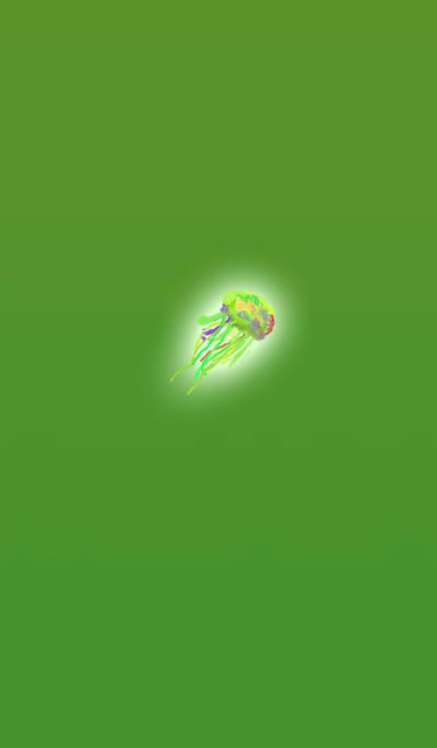 Watercolor green jellyfish