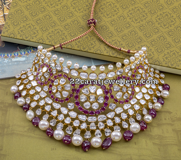Kundan Bridal Set with Ruby Flat Diamonds