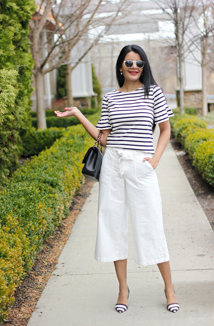 J.Crew Striped Ruffle Sleeve Tee, J.Crew Factory Striped Ruffle Sleeve Tee, Gap Wide Leg Cropped Denim, White Denim Culottes