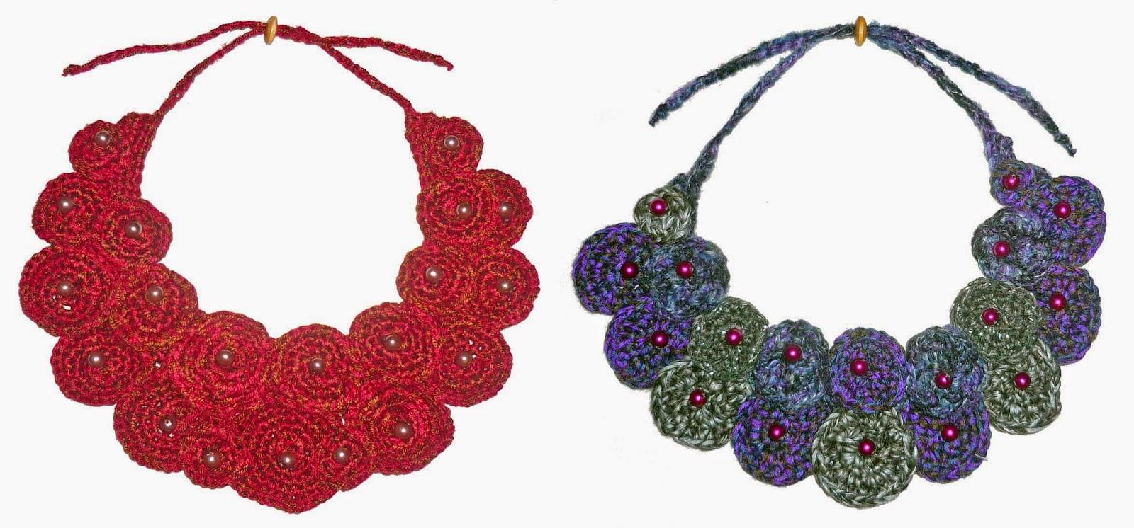 Perfecto Patrón Collar Crochet Con Los Granos Embellecimiento ...