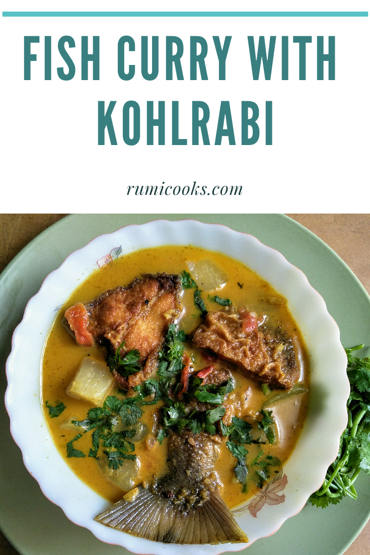Ul Kobi or Kohlrabi is a root like vegetable but actually related to cabbage family is a versatile vegetable that can be added in making fish curry.