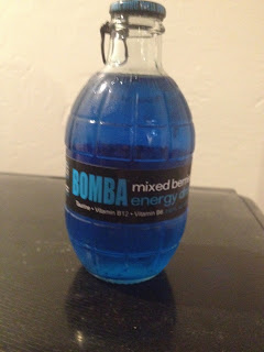 An unopened grenade bottle of Bomba Mixed Berries Energy Drink, from Big Lots