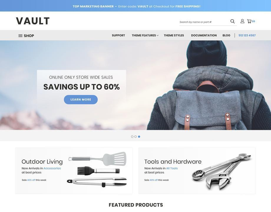 Vault is the perfect theme for merchants offering a wide selection of products