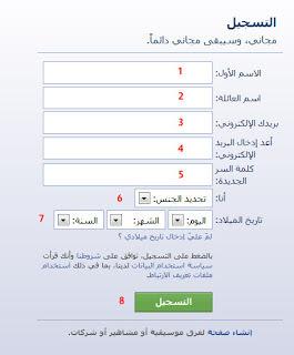 ملء استمارة فتح حساب فيس بوك جديد