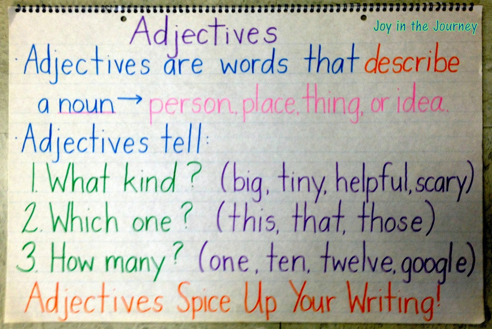 Adventures With Adjectives Joy In The Journey Teaching