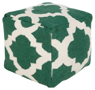 green and white pouf