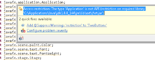 Get Rid Of Eclipse Warning Messages on JavaFX API