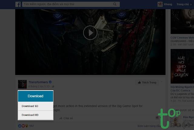 Sử dụng tiện ích tải video Facebook