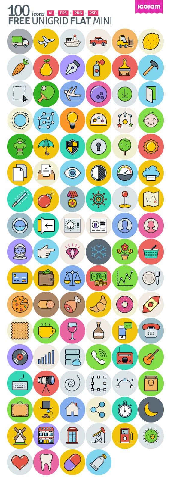 100 Free Unigrid Flat Icons