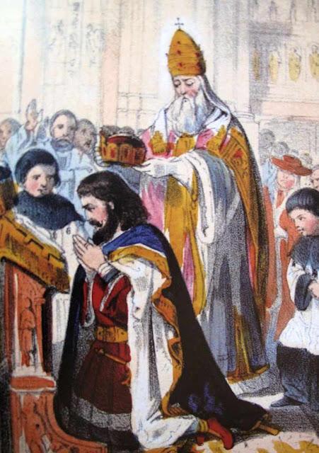 São Leão III coroa Carlos Magno e instaura o Sacro Império Romano Alemão  no Natal do ano 800 na Basílica de São Pedro