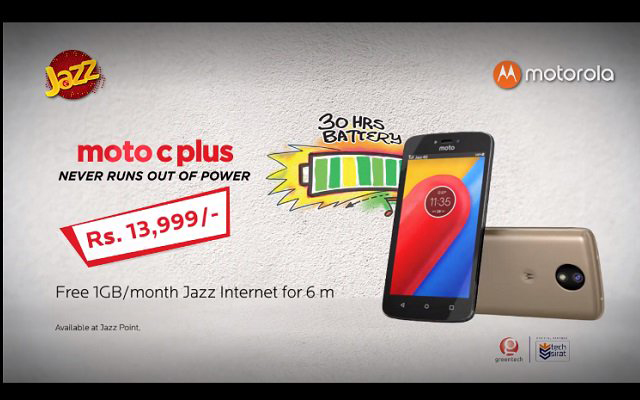Motorola Moto C Plus for Rs 13,999 with 6 Months Free Internet Jazz Offers