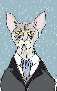 Scrooge, drawn as a hairless cat for this serialized version of A Christmas Carol by David Borden.