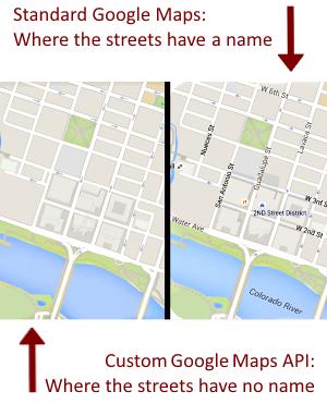atxgeek: Google Maps without Street Names #GoogleGeek