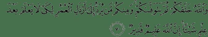 Surat An Nahl Ayat 70