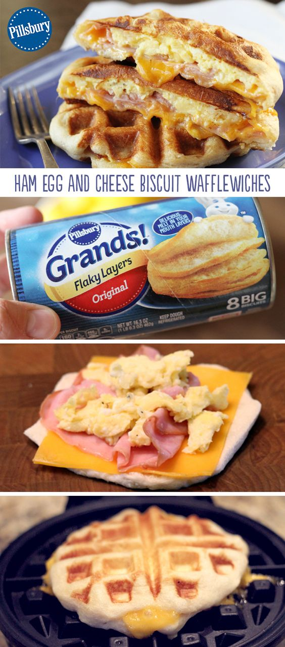 Ham, Egg, and Cheese Biscuit Wafflewiches #ham #hamrecipes #egg #eggrecipes #cheese #biscuit #wafflewiches #wafflerecipes #easyrecipes