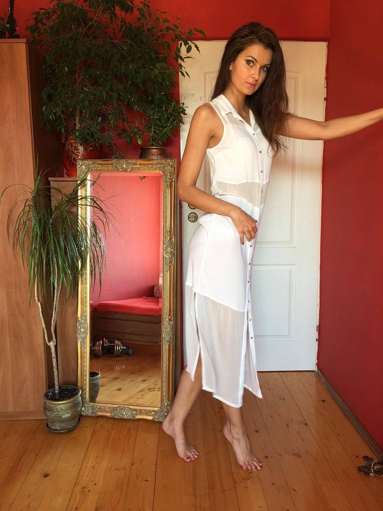 ccac9a6156 Stylizacja na lato - maxi sukienka    White maxi dress