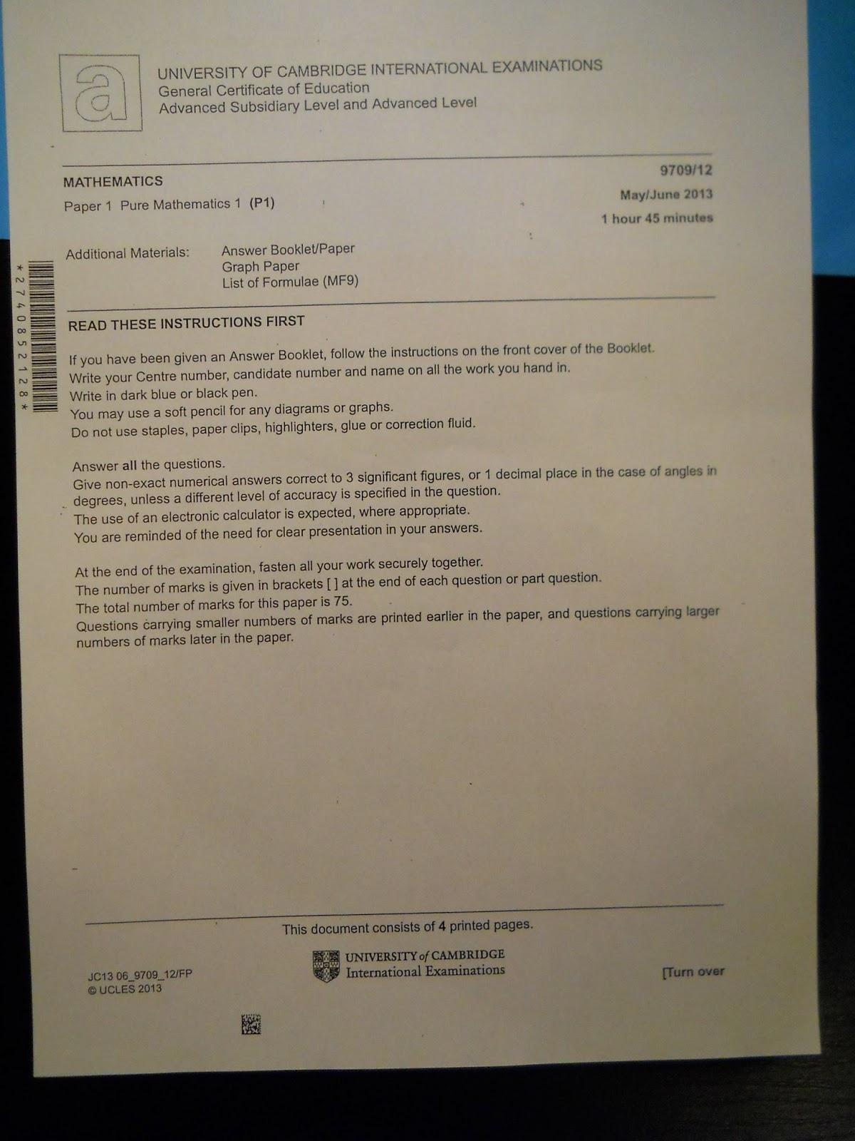 cambridge cie past papers