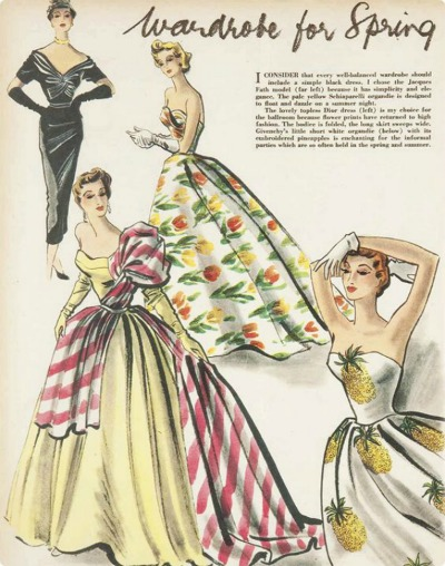 Beautiful dresses from 1950s pattern book with black sheath dress by Fath, Organdy Schiaparelli ballgown, Dior tulip print ballgown and pineapple print ballgown by Givenchy