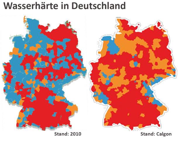 wasserhärte deutschland karte Deutschlandkarte: Calgon zeigt fragwürdige Deutschlandkarte der