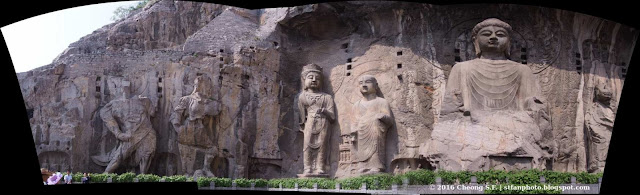 Panorama photo of Longmen Grottoes or Dragon Gate Grottoes stitch from three images.