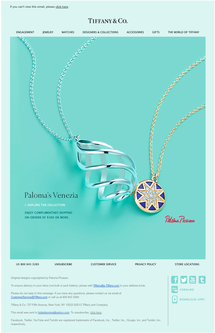 9a52c0605 Tiffany & Co - Beautiful Email Newsletters