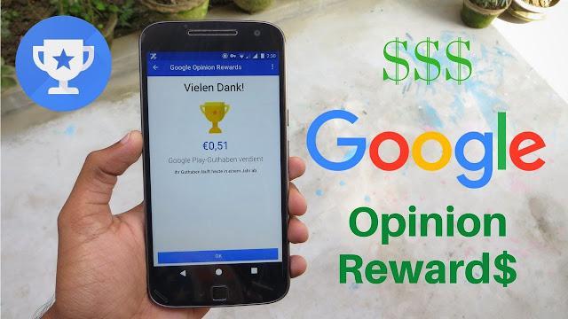 Google Opinion Rewards screen shots