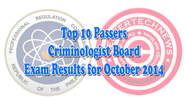 List of Top 10 Passers of Criminology Board Exam Results October 2014