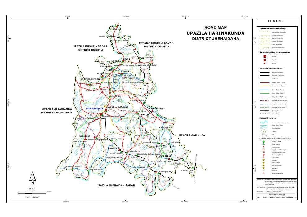 Harinakunda Upazila Road Map Jhenaidah District Bangladesh