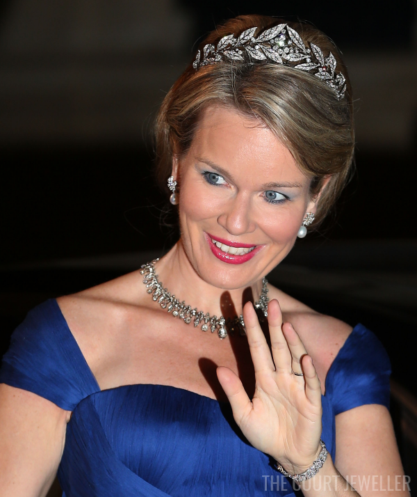 19 Oct 2012: The Duchess of Brabant wears the Laurel Wreath Tiara in Luxembourg