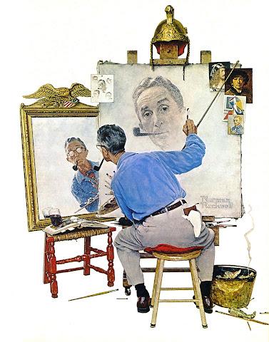 1960 Triple Self Portrait by Norman Rockwell
