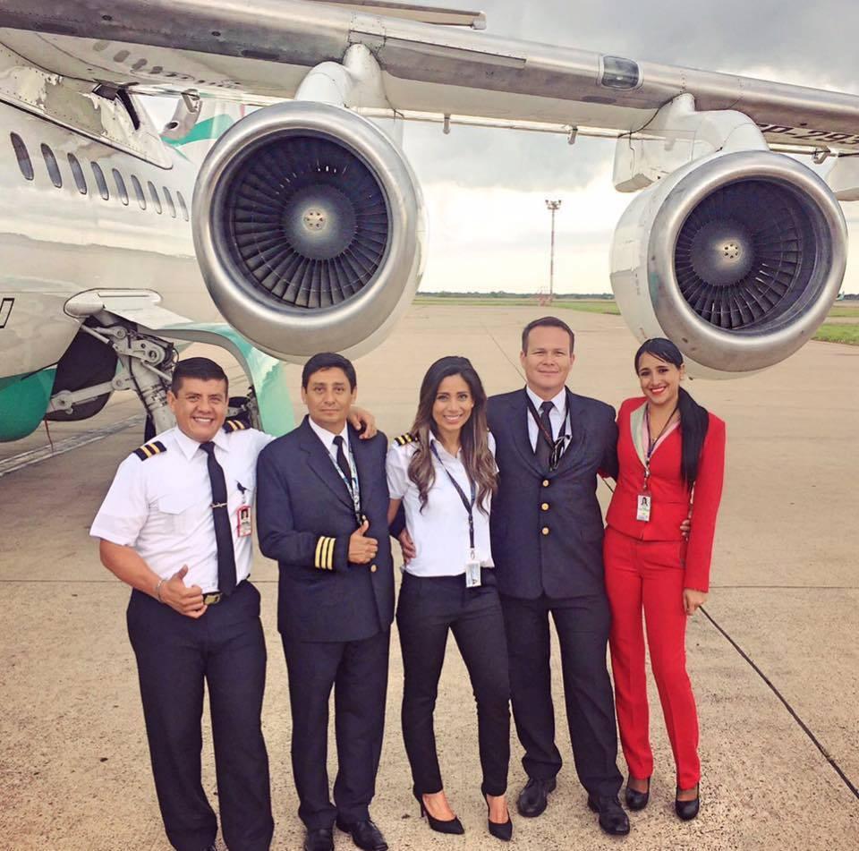 A tripulação do voo LMI 2933 que transportava o time da Chapecoense. Foto Reprodução.
