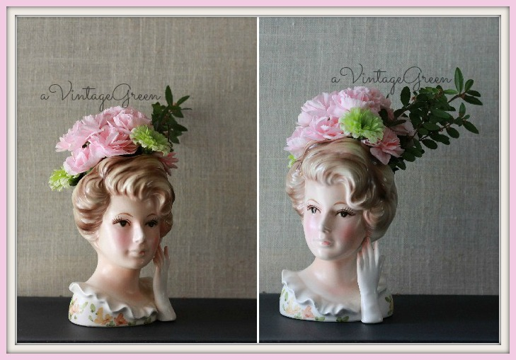 A Vintage Green Head Vases